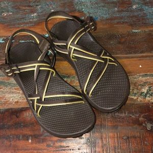 Chaco Brown and Yellow Sandals 8